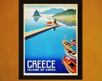 Corfu Greece Travel Poster - Vintage Travel Print Dorm Poster Tourism Art Reproduction Retro Travel Poster Vintage Greek  t