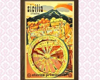 Sicily Travel Poster - Travel Prints Sicily Poster Italian Prints Dorm Poster Vintage Decor Travel   bpt