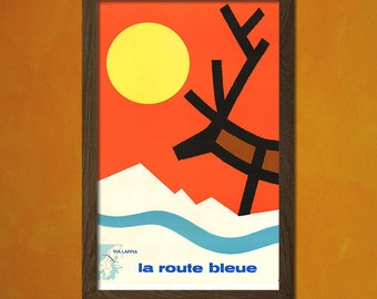 Lapland Travel Poster - Vintage Travel Poster Retro Wall Decor Office decoration Travel Lapland Poster Winter Poster   bp Reproduction