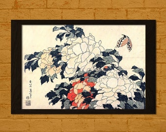 Japanese Art - Peonies And Butterfly - Ukiyo-e Vintage Fine Art Print Retro Wall Decor Office decoration Japanese Art Oriental