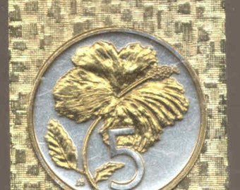 Cook Is. Hibiscus  Coin - Money clips - Gorgeous 2-Toned Gold on Silver
