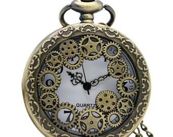 Vintage antique bronze watch, Steampunk watch necklace, Pocket watch necklace, Clock necklace, Steampunk gears pocket watch, Gift for her