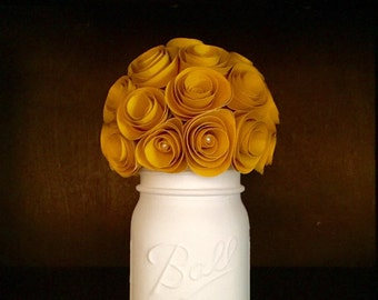 Rustic Yellow Paper Rose Bouquet: In A Hand-Painted Cream Mason Jar