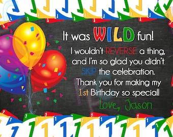 Uno Card 1st Birthday 4x6 Printable Thank You Card {Digital File Only}
