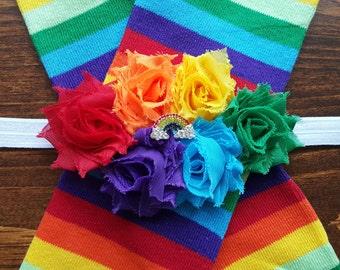 Rainbow Leg Warmers w/ Rhinestone Rainbow Headband
