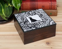 Wood Trinket Box, Original Zentangle Design Dog Silhouette on Lift Lid........Free US Shipping