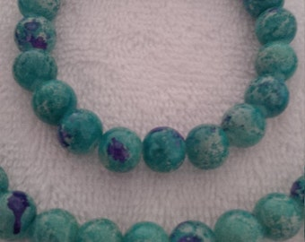 Turquoise and Purple Beaded Jewelry Set   (#462)
