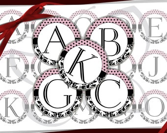 alphabet ,monogram initials with Damask and Dots for bows, Bottle Cap Images,pendants, necklace, scrapbooking 1 inch round circles