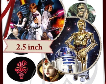 Star Wars Images  2.5 INCH CIRCLES - set of 15- digital collage sheet -  Gift tags, Birthday party favor bags, scrapbooking, cupcake toppers