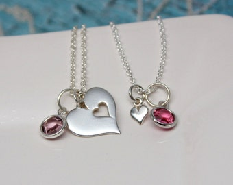 Mother-Daughter Necklace Set, Sterling Silver, Cut-out Heart Necklace, Tiny Heart, Personalized Necklace, Birthstone