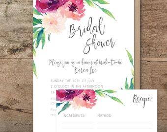 Bridal shower invitation, printable 'Blooming' bridal shower invitation + recipe card, watercolour floral invitation, kitchen tea invitation