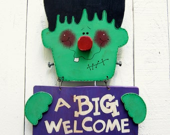 Frankenstein Door Hanger Halloween Yard Sign Welcome Sign Outdoor Frankenstein Decor Halloween Decor Painted Wood Yard Art Yard Decor Lawn
