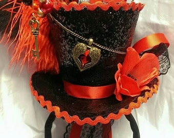 Queen of Hearts Alice in Wonderland Valentines Mini Top Hat Mad Hatter Tea Party Halloween Wedding Ascot Steampunk Cosplay