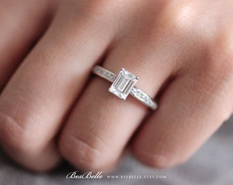 1.85 ct.tw Engagement Ring-Emerald Cut Diamond Simulant-Bridal Ring-Wedding Ring-Anniversary Ring-Sterling Silver [4352-1] Size 8 Only