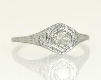 Antique Vintage Estate .25ct Genuine Champagne Diamond 18K White Gold Flowers Art Deco Engagement Ring