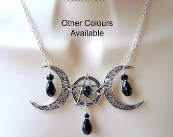 Wiccan Moon Necklace, Gothic Necklace, Pentagram & Moon Necklace, Pagan Necklace, Pentacle Necklace, Witch, Wicca, Goth, Solstice, Equinox