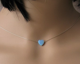 Opal heart necklace, opal necklace, blue heart opal necklace, silver necklace, opal jewelry, romantic necklace