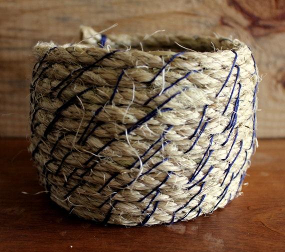 Handmade Rope Basket : Rope basket bowl handmade rustic coiled