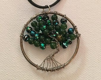 Tree of Life beaded necklace on leather cord