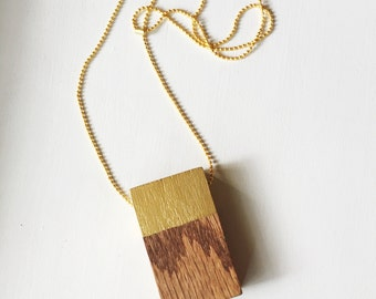 Wood Block Necklace with Gold Accent
