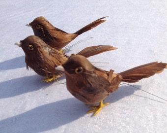 3 Brown Birds Craft Supplies Embellishments Artificial Birds Wedding Supplies Crafting Birds