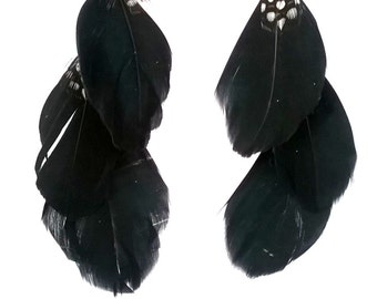 Black & White Feather/Chain Dangle Earrings, Chic, Elegant