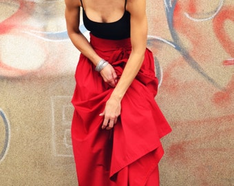 Cotton Long Red High Waist Maxi Summer Skirt/ Cotton Summer Skirt/ Black/Coral/White and More Colours Available