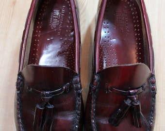 Vintage Men's Burgundy Bass Weejuns Made in USA Tassel Loafers Size 9 E