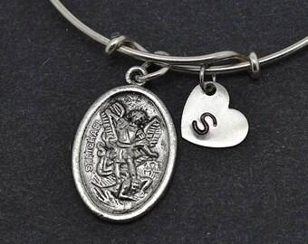 St Michael Bangle, Sterling Silver Bangle, St Michael Bracelet, Bridesmaid Gift, Personalized Bracelet, Charm Bangle, Initial