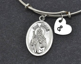 St Jude Bangle, Sterling Silver Bangle, St Jude Bracelet, Bridesmaid gift, Personalized Bracelet, Charm Bangle, Initial Bracelet