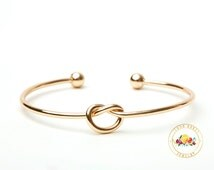 Tie the Knot Bracelet, Bridesmaid Gift, Gold Tie The Knot Bangle, Love Knot Bracelet, Will you be my Bridesmaid