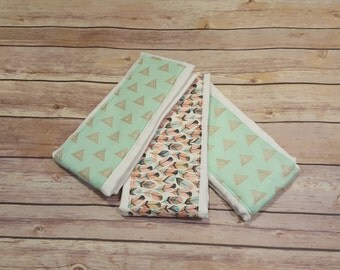 Burg Rag Set (3), Cloth Diaper Burp Rag - Mint Feathers & Triangles