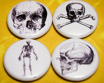 """Skulls Set of 4 Pin Back of Magnet Back 1"""" Buttons"""