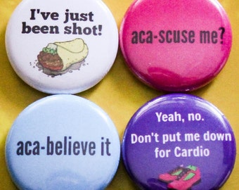 """Pitch Perfect Set of 4 - 1"""" Pinback Buttons"""