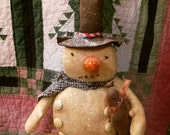 Primitive Snowman Gingerbread Winter Cloth doll Christmas Faap Hafair