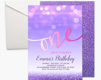 Pink And Purple First Birthday Invitation Girl 1st Birthday Invite ONE invitation First Birthday Party Invitation Glitter Printable