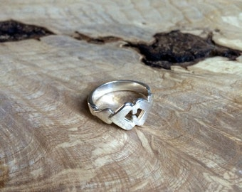Double Heart Ring Silver
