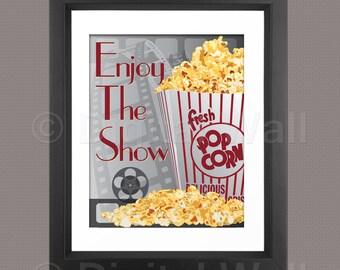 Enjoy The Show, Pop Corn Poster, Media Room Decor, Home Theater Decor, Part 65