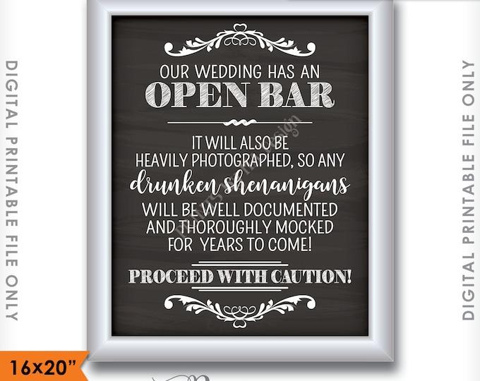 """Open Bar Sign, Wedding Bar Caution Sign, Drunken Shenanigans Documented, Chalkboard Bar Sign, 16x20"""" Instant Download Digital Printable File"""