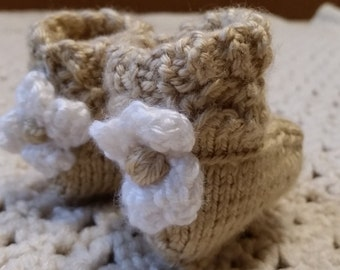Handmade knit baby booties