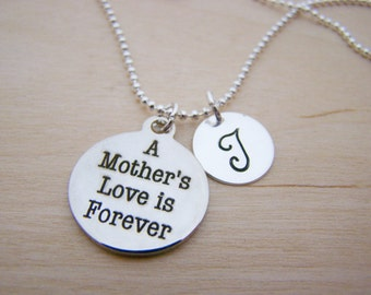 A Mothers Love Charm - Personalized Necklace - Custom Initial Necklace - Silver Necklace - Initial Jewelry - Daughter Necklace