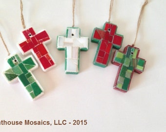 Set of Five Christmas Mosaic Cross Ornaments or Wall Crosses