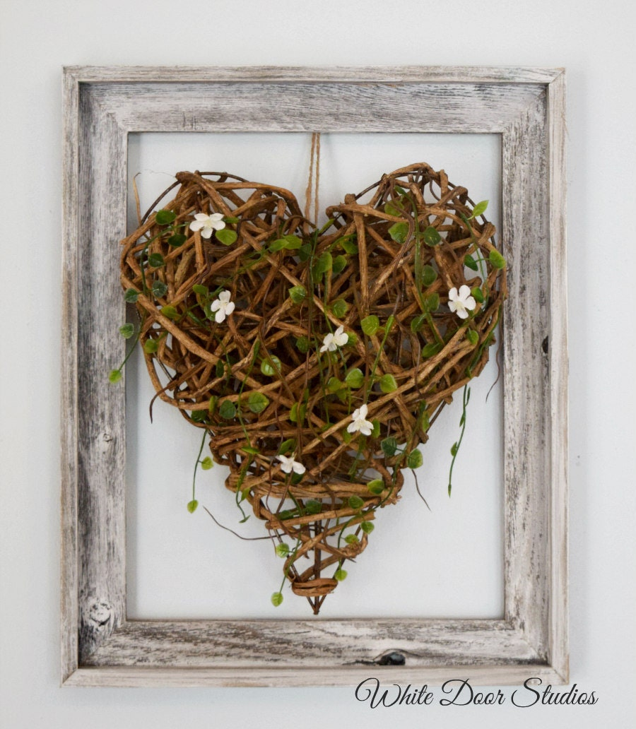 21 Most Unique Wood Home Decor Ideas: Wood Heart Wall Decor Rustic Wall Decor Farmhouse Decor
