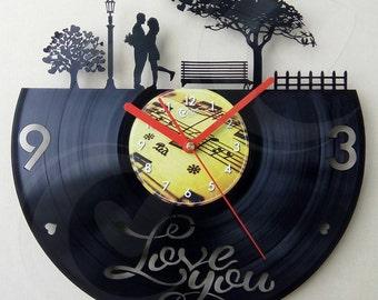 Vinyl wall clock - I love you