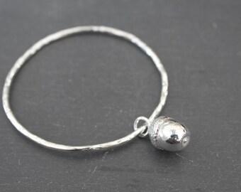 Large Acorn Bangle (Sterling Silver)