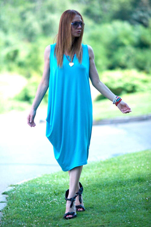Maxi Dress Oversize Dress Aqua Blue Dress Loose Shirt