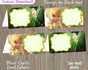 Tinkerbell Place Cards, Tinkerbell Food Labels, Tinkerbell Tent Cards, Tinkerbell Birthday, Tinkerbell Party, Disney Fairies, Food Labels