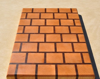 Handcrafted End Grain Maple and Walnut Cutting Board in Brick Pattern
