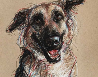 Custom Pet Portraits -Original Art- Dogs, Cats, Horses Hand Drawn on Tan/Gray Paper, Expressive Sketches -8x10 portrait with 11x14 white mat