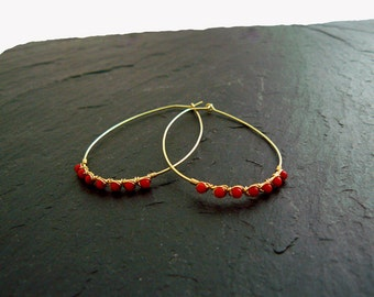 Large hoop earrings with coral, oval hoop earrings, 14 K GF earrings, coral earrings, hoop earrings gold, earrings, red, red, hoop earrings gold earrings, boho